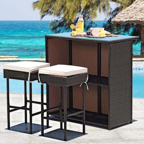 Outdoor 3PCS Patio Wicker Rattan Bar Set Table w/2 Cushioned Stools