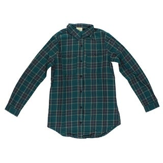 Adidas Mens Long Sleeve Flannel Button Down Green - Green/Blue