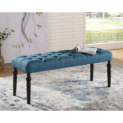 Copper Grove Sens Tufted Tan Fabric Dining Bench with Turned Legs