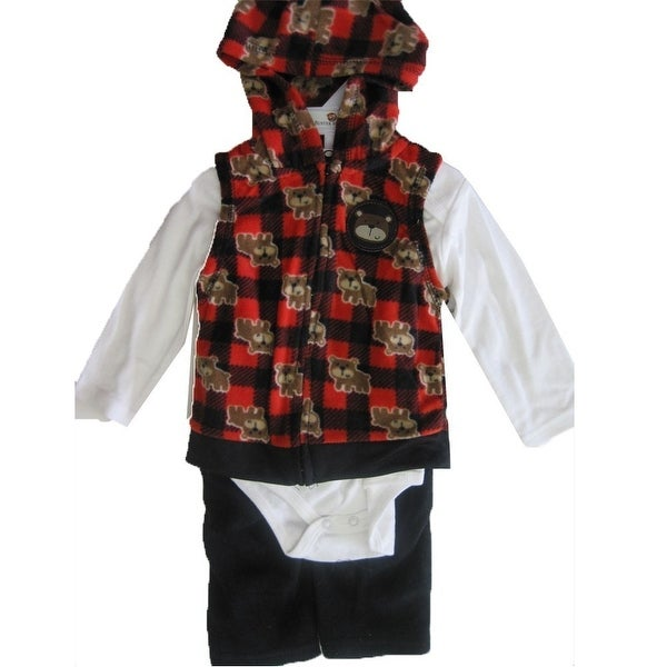 Buster Brown Baby Boys White Red Printed Hooded Vest Bodysuit 3 Pc Pants Set 0-9M