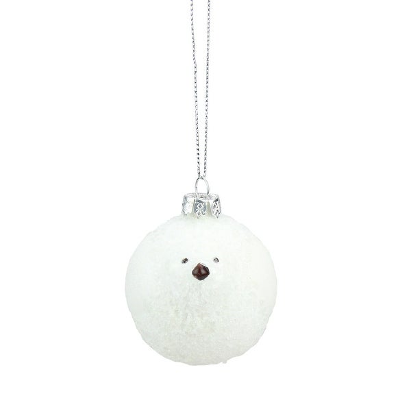 "2.5"" Wintery White Frosted Bird Glass Christmas Ornament"
