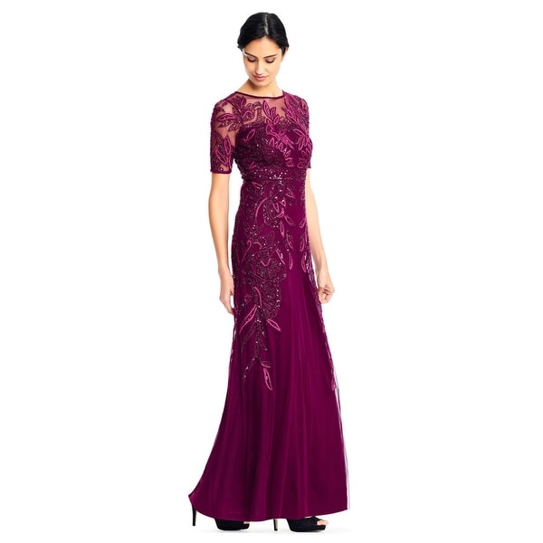 b678059f1658c7 Adrianna Papell Vine Beaded Gown Illusion Short Sleeves, Cabernet, 12