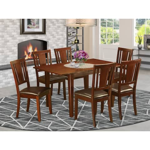 East West Furniture Picasso Mahogany Rubberwood Dinette Table With 6 Dining Chairs