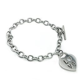 Stainless Steel Love Heart Tag Bracelet - 7.5 inches