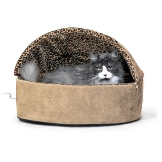 """K&H Pet Products Thermo-Kitty Bed Deluxe Hooded Large Tan 20"""" x 20"""" x 14"""""""