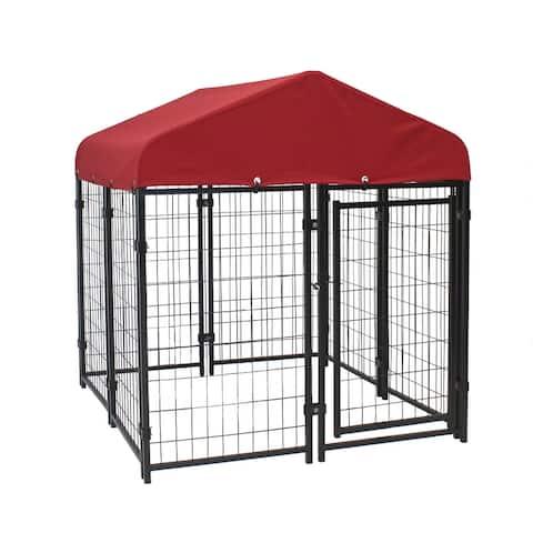 Lucky Dog Pet Resort Kennel KIT 4' x 4' w/ Sunbrella