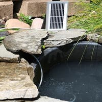 Sunnydaze Solar Outdoor Pond Air Pump Oxygenator with Air Stone - 26 GPH