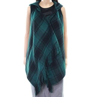 Hyfve NEW Green Women's Size Small S Plaid-Print Fringe Hooded Vest