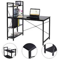 Costway Modern Computer Desk With 4-Tier Shelves PC Workstation Study Table Home Office - Black