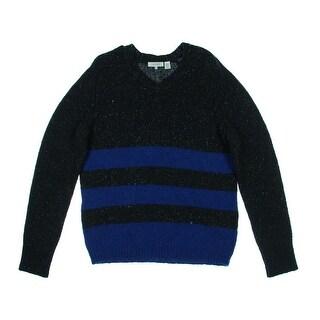 Inhabit Mens Donegal V-Neck Sweater Wool Blend Marled