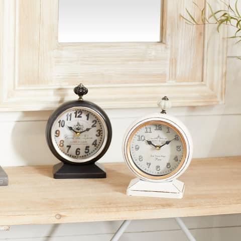 White Iron Vintage Clock No Theme (Set of 2) - 6 x 3 x 9Round