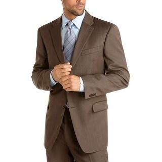 Tommy Hilfiger Adams Worsted Wool Sportcoat Brown Olive Trim Fit Blazer