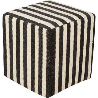 "16"" Ivory White and Ink Black Stripe PVC and Cotton Pouf Ottoman"