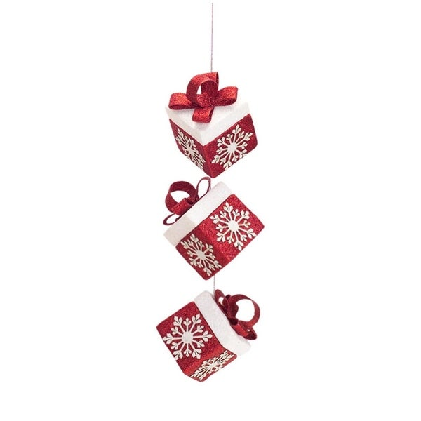 "12.5"" Alpine Chic Red and White Gift Box Presents with Snowflakes Christmas Ornament"
