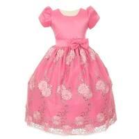Little Girls Bubble Gum Pink Satin Sequin Tulle Flower Girl Easter Dress 4-6