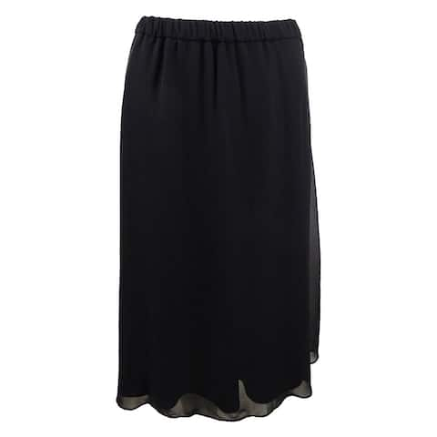 Alex Evenings Women's Chiffon A-Line Skirt (L, Black) - Black - L
