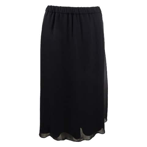 Alex Evenings Women's Chiffon A-Line Skirt (XL, Black) - Black - XL