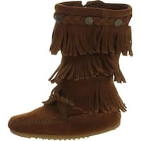 Minnetonka 3-Layer Fringe Bootie - brown suede