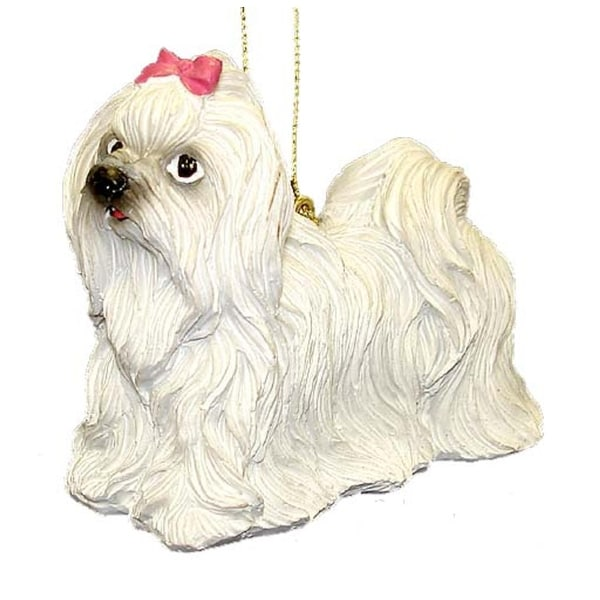 "4"" White Maltese Dog Christmas Ornament #86088"