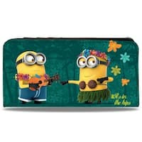 Minion Hula It's In The Hips Floral Collage Jade Green Canvas Snap Wallet - One Size Fits most