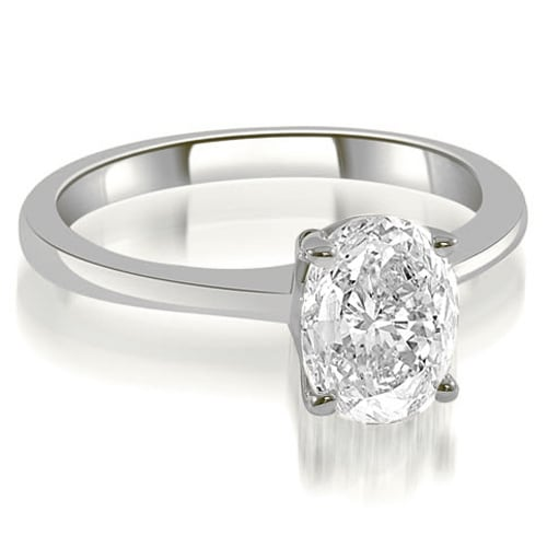 0.50 cttw. 14K White Gold Solitaire Oval Cut Diamond Engagement Ring