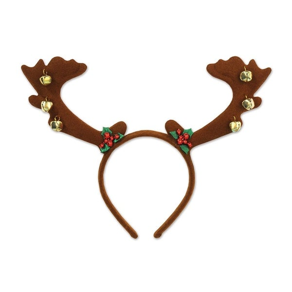 Pack of 12 Reindeer Antler with Bells Christmas Bopper Headbands Costume Accessories - brown