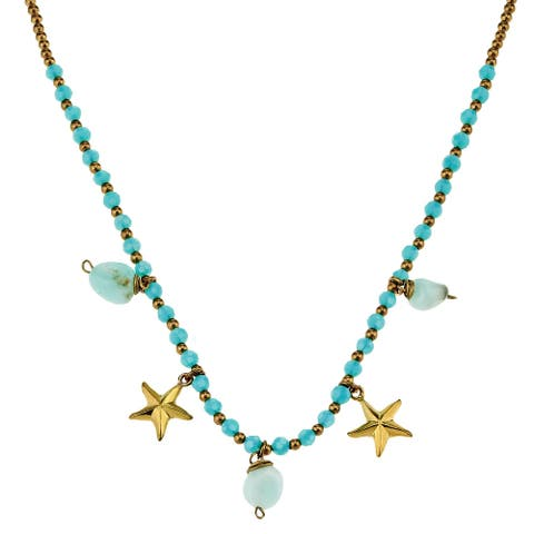 Handmade Playful Starfish Seashore Dangle and Brass Beads Necklace (Thailand)
