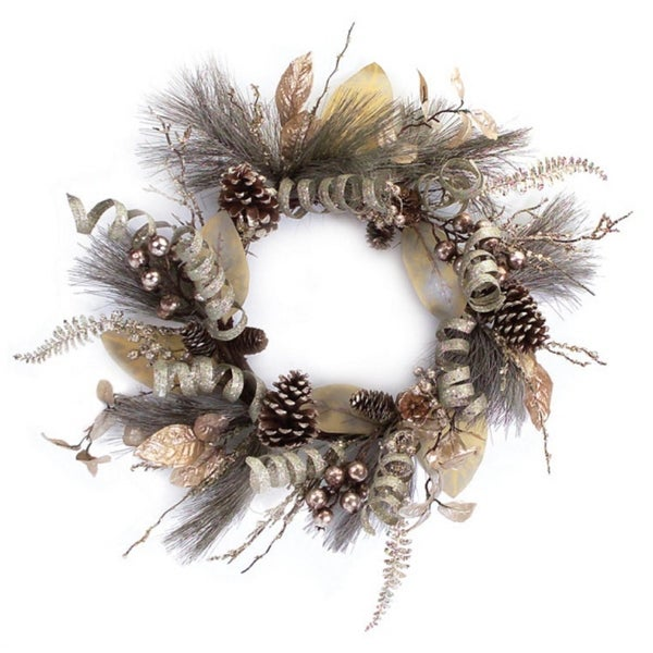 "24"" Silver Ribbon Brown Berry and Pine Cone Artificial Christmas Wreath - Unlit"