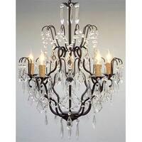 Swarovski Elements Crystal Trimmed Wrought Iron Crystal Chandelier Lighting