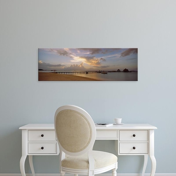 Easy Art Prints Panoramic Images's 'Jetty on the beach, Maldives' Premium Canvas Art
