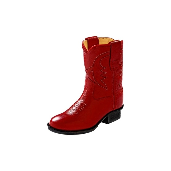 e645b30d7d1 Old West Cowboy Boots Boys Girls Kids Corona Leather PVC Red