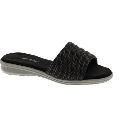Aerosoles Women's Great Call Wedge Slide Sandal - black combo
