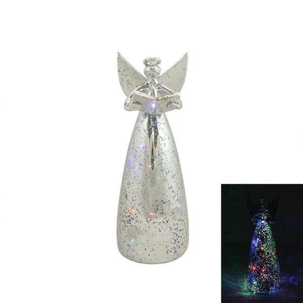 "9.25"" Winter Whisper LED Lighted Silver Glass Angel Cone Christmas Figure"