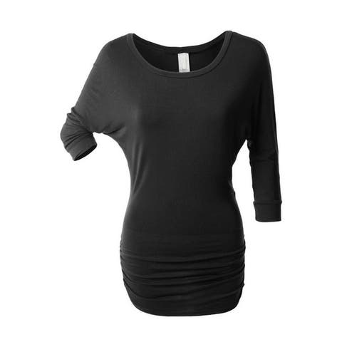 NioBe Clothing Womens 3/4 Sleeve Dolman Top with Side Shirring Tunic