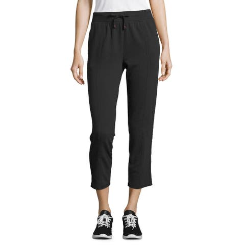 Champion Women's Heritage Varsity-Stripe Warm-Up Ankle Pant, Black, XL