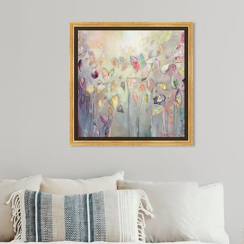 Oliver Gal Abstract Wall Art Framed Canvas Prints 'Michaela Nessim - Butterfly' Paint - Purple, Green