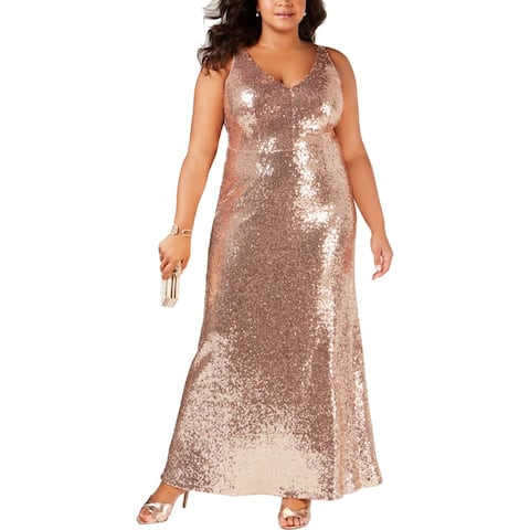 NW Nightway Womens Plus Evening Dress Sequined Mesh Inset - Champagne