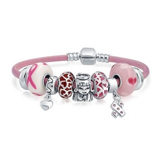 Bling Jewelry Breast Cancer Awareness Heart Enamel Glass Charm Bracelet 925 Silver