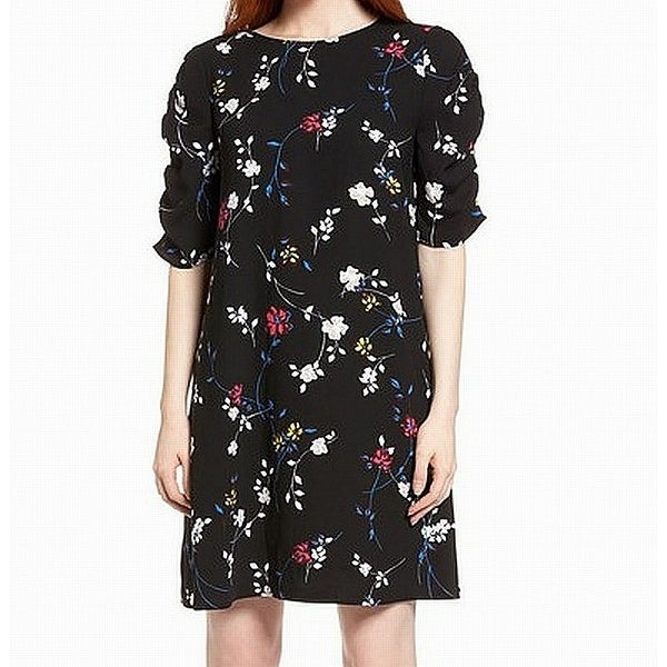 Halogen Black Womens Size Small S Ruched Sleeve Floral Shift Dress