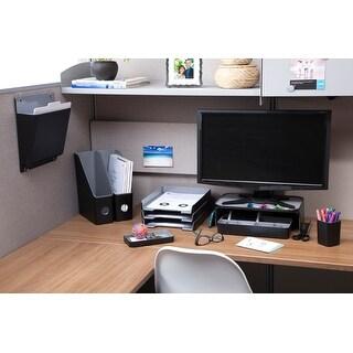 """Fusion 5-Compartment Desk Tray 12.25""""X6""""X2""""-Black W/Gray Int - black w/gray interior"""