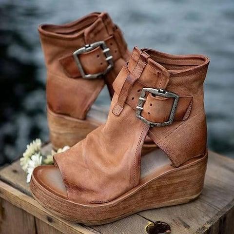 High-Top Wedge Platform Fish Mouth High-Heel Sandals