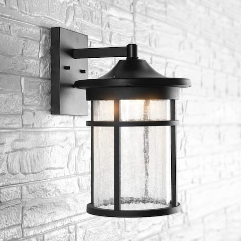 """11"""" Outdoor Wall Lantern Metal Integrated Sconce, Black by JONATHAN Y"""