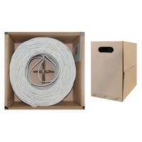 Offex Bulk Cat6 White Ethernet Cable, Solid, UTP (Unshielded Twisted Pair), Pullbox, 1000 foot