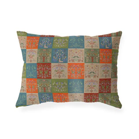 SCANDINAVIAN PATCHWORK TUSCAN TONES Indoor Outdoor Lumbar Pillow by Kavka Designs - 20X14