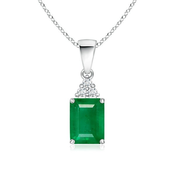 Angara Prong Set Emerald Cut Emerald Pendant with Diamond - Green/White