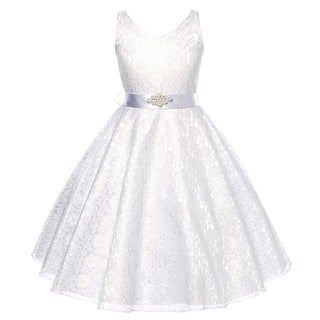 Flower Girl Dress V-Neck Lace Rhinestone Brooch White GG 3511