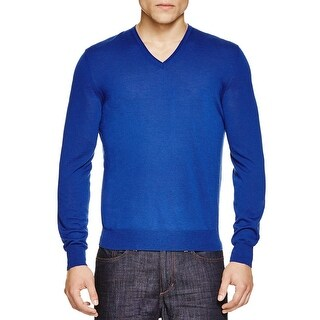The Men's Store Bloomingdales Extra Merino V-Neck Sweater X-Large Pacific Blue