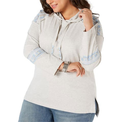 Style & Co. Womens Embellished Hoodie Sweatshirt