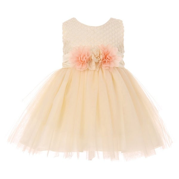 Baby Girls Ivory Lace 3D Silk Floral Accent Easter Flower Girl Dress
