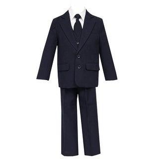 Little Boys Navy 5 Pcs Shirt Vest Jacket Tie Pants Suit